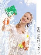 Купить «Молодая домохозяйка моет окно», фото № 2888254, снято 17 октября 2011 г. (c) Евгений Атаманенко / Фотобанк Лори