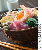 Купить «Миска с морепродуктами, овощами и Тофу», фото № 2898966, снято 26 апреля 2007 г. (c) Monkey Business Images / Фотобанк Лори