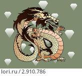 Купить «Коричневый (элемент-земля), бежевый восточный дракон», иллюстрация № 2910786 (c) Анастасия Некрасова / Фотобанк Лори