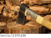 Купить «Топор торчит в бревне», фото № 2915630, снято 12 сентября 2011 г. (c) Дмитрий Черевко / Фотобанк Лори