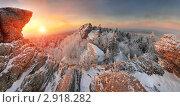 Зимний рассвет в Уральских горах. Стоковое фото, фотограф Миронов Константин / Фотобанк Лори