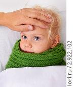 Купить «Мама проверяет температуру у ребёнка», фото № 2922102, снято 26 октября 2011 г. (c) Сергей Прищепа / Фотобанк Лори