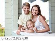Купить «Счастливая семья на веранде дома», фото № 2922630, снято 17 августа 2011 г. (c) Raev Denis / Фотобанк Лори