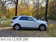 Купить «Белый автомобиль (кроссовер) Mercedes ML», эксклюзивное фото № 2928286, снято 8 октября 2011 г. (c) Дмитрий Абушкин / Фотобанк Лори