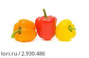 Купить «Три сладких перца разного цвета на белом фоне», фото № 2930486, снято 5 ноября 2011 г. (c) Ласточкин Евгений / Фотобанк Лори