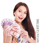 Купить «Красивая девушка с деньгами», фото № 2937566, снято 4 июля 2011 г. (c) Gennadiy Poznyakov / Фотобанк Лори