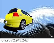 Желтый автомобиль на абстрактном фоне. Стоковая иллюстрация, иллюстратор Leonid Dorfman / Фотобанк Лори
