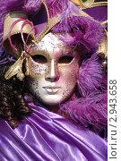 Лиловая дама анфас - маска венецианского фестиваля 2011 года, Венеция,Италия. Редакционное фото, фотограф крижевская юлия валерьевна / Фотобанк Лори
