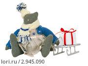 Самодельная рождественская игрушка на белом фоне. Стоковое фото, фотограф Иван Коваленко / Фотобанк Лори