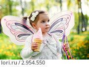 Купить «Маленькая девочка с крыльями бабочки и мороженым в руке на фоне летнего леса», фото № 2954550, снято 10 мая 2011 г. (c) Екатерина Штерн / Фотобанк Лори