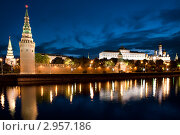 Вид на Московский Кремль в летнюю ночь. Россия, фото № 2957186, снято 8 июня 2011 г. (c) Угоренков Александр / Фотобанк Лори