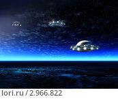 Купить «Ночной ландшафт с инопланетными НЛО», иллюстрация № 2966822 (c) ElenArt / Фотобанк Лори