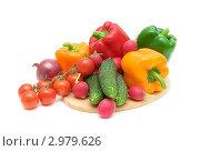 Купить «Различные спелые овощи на деревянной доске, изолированно на белом фоне», фото № 2979626, снято 26 ноября 2011 г. (c) Ласточкин Евгений / Фотобанк Лори
