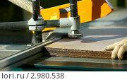 Купить «Фанерная фабрика - циркулярная пила режет картон», видеоролик № 2980538, снято 29 сентября 2011 г. (c) Гурьянов Андрей / Фотобанк Лори