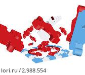 Купить «Красные, белые и голубые детали мозаики», иллюстрация № 2988554 (c) Павел Коновалов / Фотобанк Лори
