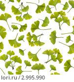 Купить «Белый бесшовный фон с молодыми листочками гинко», фото № 2995990, снято 5 мая 2011 г. (c) Аnna Ivanova / Фотобанк Лори