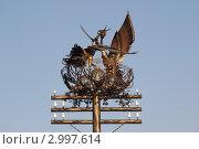 Купить «Два аиста в гнезде», фото № 2997614, снято 1 декабря 2011 г. (c) Виталий Матонин / Фотобанк Лори