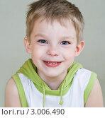 Купить «Портрет шестилетнего мальчика на сером фоне», фото № 3006490, снято 18 мая 2011 г. (c) Вероника Галкина / Фотобанк Лори