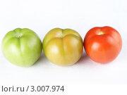 Купить «Три помидора разной степени зрелости», фото № 3007974, снято 23 августа 2011 г. (c) Галина Михалишина / Фотобанк Лори