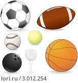 Набор спортивных мячей на белом фоне. Стоковая иллюстрация, иллюстратор PILart / Фотобанк Лори