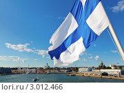 Купить «Финский флаг развевается на фоне города Хельсинки», фото № 3012466, снято 31 июля 2011 г. (c) Дмитрий Наумов / Фотобанк Лори