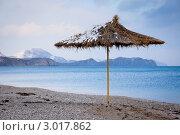 Соломенный пляжный зонтик, засыпанный снегом, на фоне моря. Стоковое фото, фотограф IEVGEN IVANOV / Фотобанк Лори