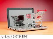 Купить «Магазинная тележка на открытом ноутбуке. Концепция торговли через интернет», фото № 3019194, снято 27 мая 2011 г. (c) Elnur / Фотобанк Лори