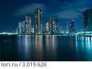Купить «Небоскребы современного Токио с отражением в реке в ночное время», фото № 3019626, снято 15 февраля 2008 г. (c) Юрий Запорожченко / Фотобанк Лори