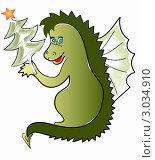 Купить «Веселый дракончик с елкой», иллюстрация № 3034910 (c) Olivas / Фотобанк Лори