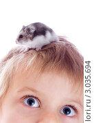 Купить «Хомяк на голове ребенка», фото № 3035694, снято 6 декабря 2011 г. (c) Сергей Прищепа / Фотобанк Лори