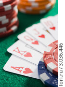 Купить «Игральные карты и фишки», фото № 3036446, снято 20 июня 2007 г. (c) Monkey Business Images / Фотобанк Лори