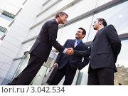 Купить «Деловые люди пожимают друг другу руки рядом со зданием офиса», фото № 3042534, снято 29 октября 2006 г. (c) Monkey Business Images / Фотобанк Лори