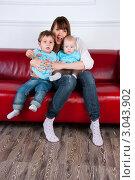 Купить «Мама с двумя сыновьями», эксклюзивное фото № 3043902, снято 1 декабря 2011 г. (c) Куликова Вероника / Фотобанк Лори