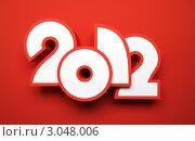 Купить «Стилизованные белые цифры 2012 на красном фоне», иллюстрация № 3048006 (c) Дмитрий Кутлаев / Фотобанк Лори