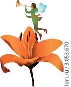 Эльф с трубой над оранжевым цветком. Стоковая иллюстрация, иллюстратор Стехновская Ольга / Фотобанк Лори