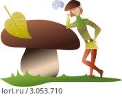 Эльф,стоящий рядом с большим грибом. Стоковая иллюстрация, иллюстратор Стехновская Ольга / Фотобанк Лори