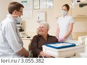 Купить «Пожилая женщина на приеме у зубного врача», фото № 3055382, снято 8 мая 2000 г. (c) Monkey Business Images / Фотобанк Лори