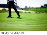 Игра в гольф. Мяч на зеленой траве недалеко от лунки. Стоковое фото, фотограф IEVGEN IVANOV / Фотобанк Лори