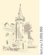 Купить «Карандашный набросок дома с башней», иллюстрация № 3059950 (c) keanda / Фотобанк Лори