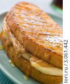 Купить «Бутерброд из поджаренного хлеба с арахисовым маслом, бананом и сиропом», фото № 3061442, снято 24 мая 2007 г. (c) Monkey Business Images / Фотобанк Лори