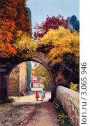 Купить «Осенний пейзаж с гуляющими детьми в парке. Италия», фото № 3065946, снято 5 июня 2020 г. (c) Юрий Кобзев / Фотобанк Лори