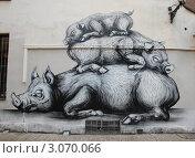 Купить «Свинья и поросята, граффити в Брюсселе, Бельгия», фото № 3070066, снято 18 сентября 2011 г. (c) Светлана Колобова / Фотобанк Лори