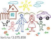 Детский рисунок семьи. Стоковая иллюстрация, иллюстратор Irina Burtseva / Фотобанк Лори
