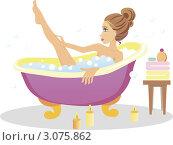 Молодая девушка принимает ванну. Стоковая иллюстрация, иллюстратор Irina Burtseva / Фотобанк Лори