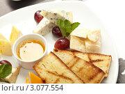 Сырная тарелка с виноградом, медом и жареными тостами. Стоковое фото, фотограф Dzianis Miraniuk / Фотобанк Лори