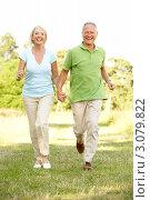 Купить «Радостная зрелая семейная пара гуляет за руку по траве», фото № 3079822, снято 24 июня 2009 г. (c) Monkey Business Images / Фотобанк Лори