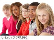 Купить «Группа улыбающихся подростков», фото № 3079990, снято 15 апреля 2009 г. (c) Monkey Business Images / Фотобанк Лори