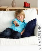 Купить «Мальчик переключает каналы, сидя на диване», фото № 3082494, снято 14 апреля 2009 г. (c) Monkey Business Images / Фотобанк Лори