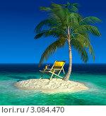 Купить «Маленький тропический остров с пальмой и шезлонгом, рендер», иллюстрация № 3084470 (c) Антон Балаж / Фотобанк Лори