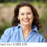 Купить «Портрет улыбающейся женщины средних лет крупным планом», фото № 3089270, снято 11 августа 2009 г. (c) Monkey Business Images / Фотобанк Лори